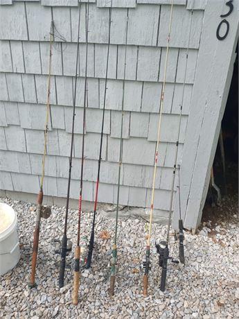 Assortment of fishing poles