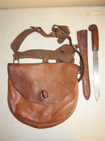 Hand Made Hunting Knife & Leather Satchel, Vintage