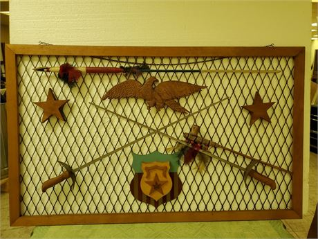 Vintage Wall Hanging Spear + Swords + Pipe