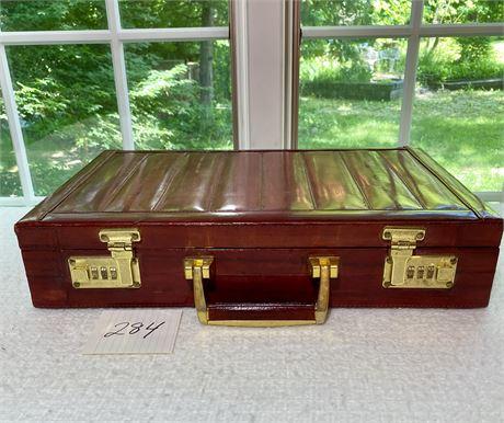 Handsome Presto Lock Top Eel Skin Brick Red Briefcase Suede Lining 1980's