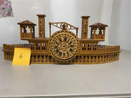 Vintage Fretwork River Boat Side Wheeler Clock - Scroll Saw Handmade