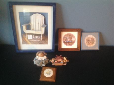 Wall Decor Lot including Two Ed Gifford Round Prints