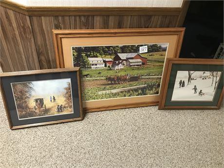 3 Amish Framed & Signed Prints