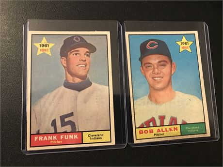 1961 Topps Cleveland Indians Rookie Cards - Funk and Allen