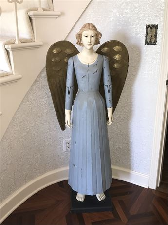 Wooden Angel with Metal Wings and with Articulating Arms