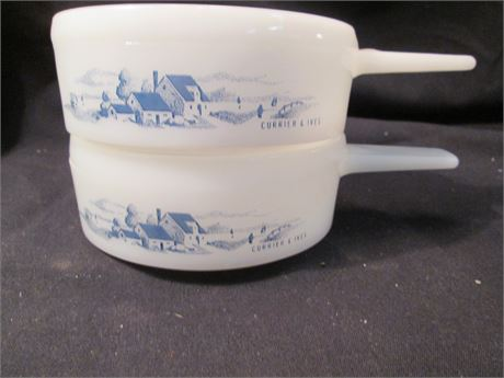 2 Vintage Currier & Ives Pattern White Glass Soup Bowls W/ Handles