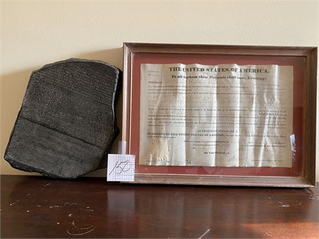 Sanskrit Composite and 1840 Early American Framed Land Contract