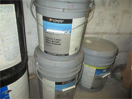 2 Pittsburgh PPG 5 Gallon Pail Speedhide Latex Gloss Enamel Paint