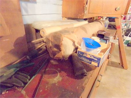Clean Out - Upholstery Material, Rolls of Tape, 2 Gutter Strainers, and More
