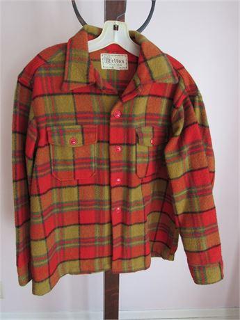 1950s Melton Plaid Shirt Jacket, wool or wool blend