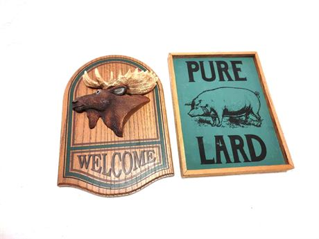 Jennings Decoy Welcome Sign and Pure Lard Plaque Home DECOR
