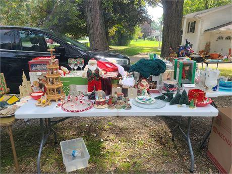 Large Christmas Lot: Mixed Houses / Glasses / Santa Figs / Dolls & More