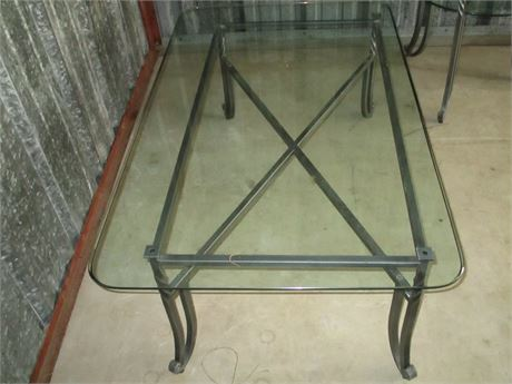 """New Modern Antiqued Pewter Smoked Glass 47"""" Long Table"""