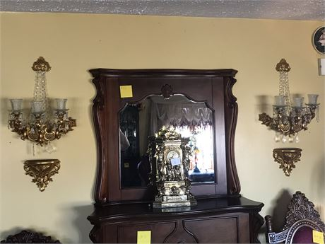 Pair of Wall Hanging Gilt Candelabrum Sets