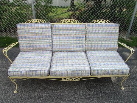"Metal Vine Patio Outdoor 72"" Love Seat Lounger w Custom Cushions"