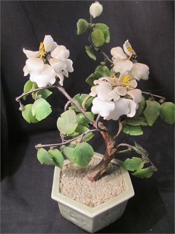 Vintage Oriental Glass Art Decorator Plant and Planter