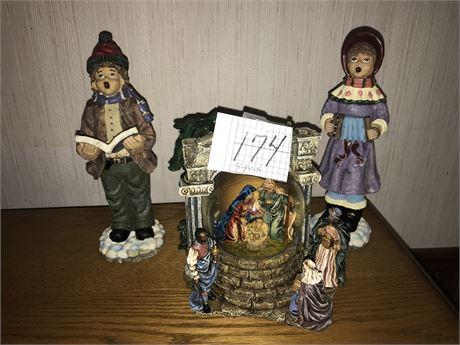 Nativity Scene Music Box Snow Globe and Carolers