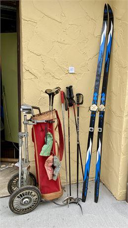 Fischer Skis and Walter Hagen / Harry Hassmer Golf Clubs Lot