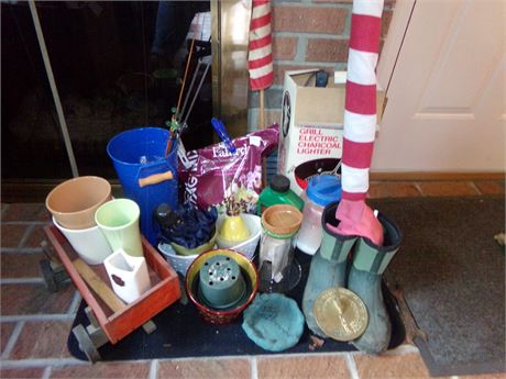 Large Lawn and Garden Lot incl. Sm. Sundial, Seed Starter, Pots, and more