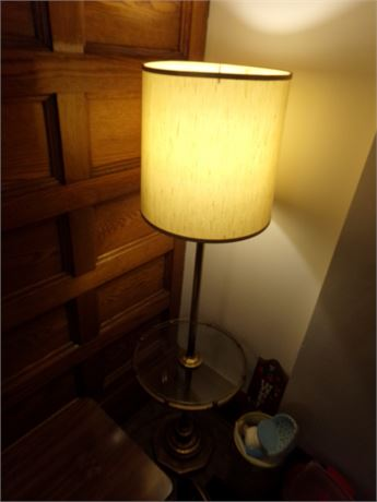 Floor Lamp with a Glass Table Top