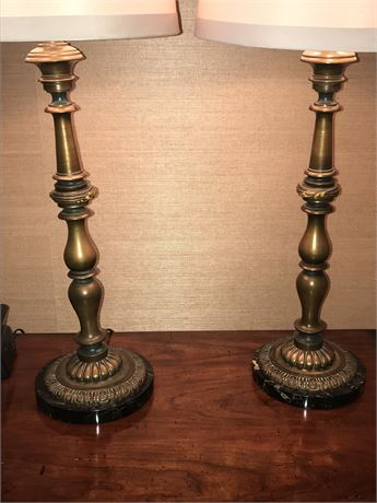 Pair of Antique Bronze and Marble Lamps