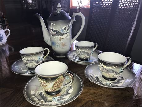 Japanese Dragonware Tea Set with 4 cups & saucers