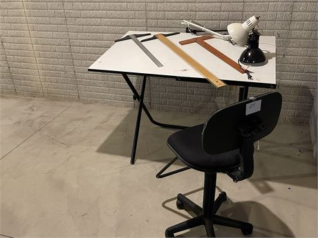 Drafting Table, Chair, T Squares and Light