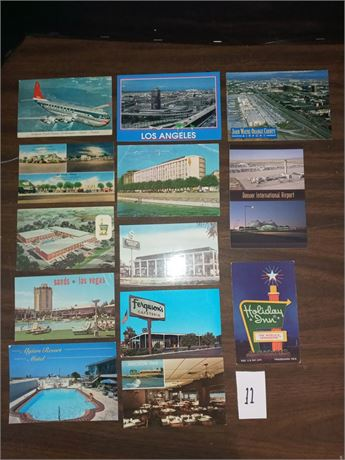 Hotel, airport postcards