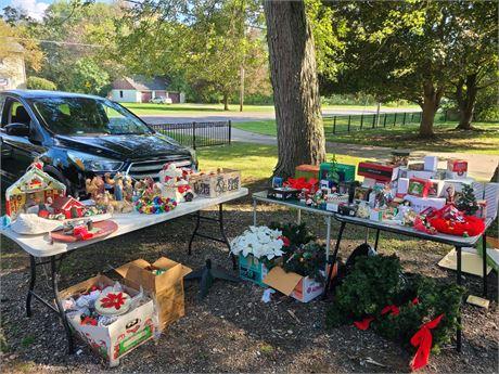 HUGE Christmas Lot Ceramic Items/Old Ornaments/Decor/Santa Cookie Jar & More