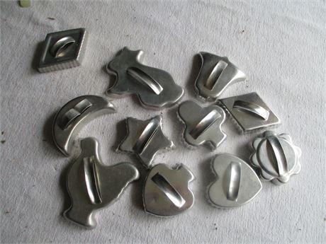 11 Pieces Premium Fancy Aluminum Cookie Cutters Lot