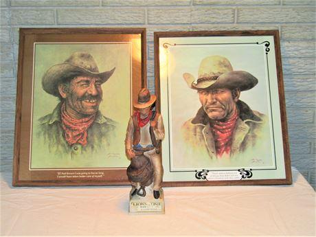 Vintage Framed Cowboy Prints by Bill Hampton & Lionstone Cowboy Whiskey Decanter