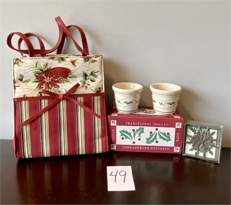 Longaberger Holiday Lot with High Quality Bag and Pewter Ornament