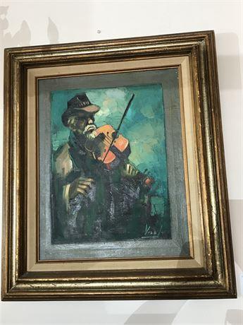 "Hernando Gonzallo Villa (USA 1881-1952) Original Oil on Canvas ""The Fiddler"""