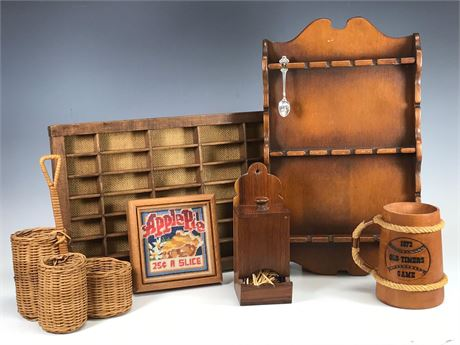 Home Decor Wood and Wicker Group Lot