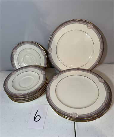 "Noritake ""Stanford Court"" Saucers (6) and Salad/Dessert Plates (4) - Bone China"