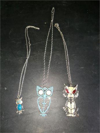 3 Vintage necklaces, 2 owls & a cat