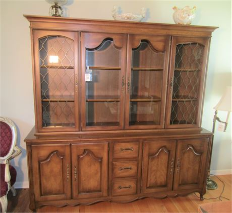 Vintage Solid Wood China Cabinet With Hutch