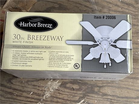 30 inch Harbor Breeze Breezeway Ceiling Fan - new in box
