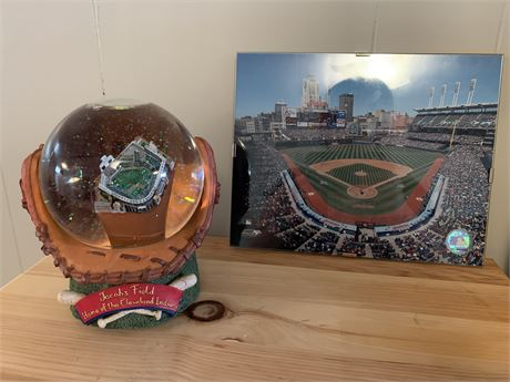 Jacobs field snow globe and photo