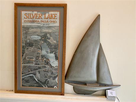 Silver Lake, Ohio Print and Sailboat Wall Decor
