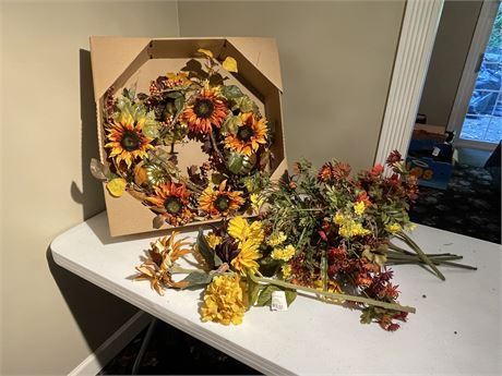Harvest Wreath and Additional Faux Fall Decor Pieces
