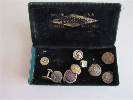 Old Metal Lapel Award Buttons: NRA, American Legion. CASE NOT INCLUDED