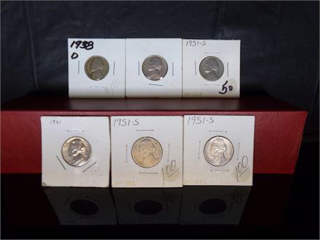 Lot of 6 Nickels