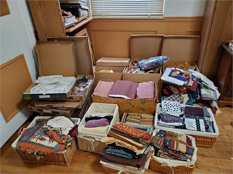 Many Boxes Full Of Fabric + Quilting Squares