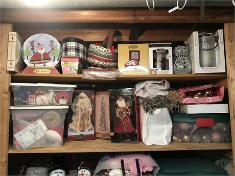 Top Two Shelves Christmas Decor Lot