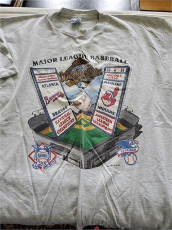 1995 World Series T Shirt Cleveland Indians Braves