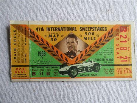 Vintage 1963 Original 47th Indianapolis 500 Race Box Seat Ticket