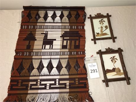 Woven Wall Art Hanging and Marquetry Artwork