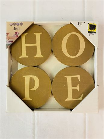 Hope 4 Piece Plaque Set. Wood.