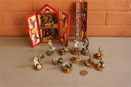 Great Mexican Miniature Clay Art Figures Collection